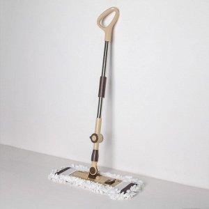 Швабра плоская Доляна, телескопическая стальная ручка 76-115 см, насадка микрофибра 44?12 см, цвет МИКС