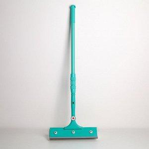 Окномойка с телескопической металлической ручкой Доляна, 28?77(116) см, поворотная головка, поролон, цвет голубой