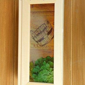 """Абажур деревянный """"Добропаровъ"""" со вставками из стекла с УФ печатью, 33х29х12см"""
