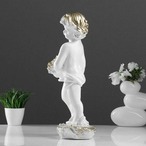 """Фигура """"Мальчик с корзиной"""" белый 50х23х20см"""