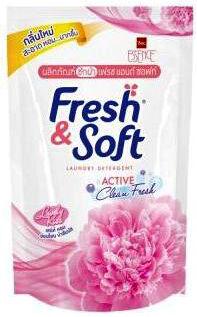 "LION ""Essence Fresh & Soft"" Средство для стирки жидкое 400мл ""Pink Elegance""  (Lovely Kiss) (мягкая упак.) / Таиланд"