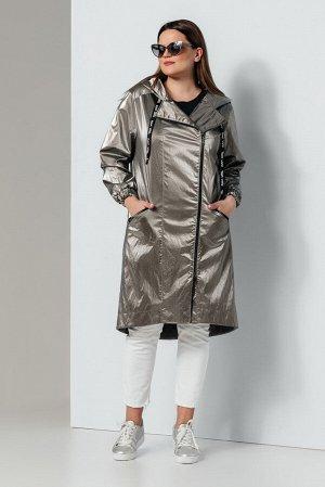 Плащ Плащ OLEGRAN 633 серебро  Состав ткани: ПЭ-100%;  Рост: 164 см.  Плащ прямого силуэта, на подкладке, с центральной сквозной застежкой на металлическую тесьму-молнию. Детали переда с кокетками, с