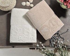 Комплект махровых полотенец c гипюром elinda 50x90 см 1/2