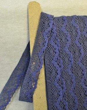 Кружево хлопок-90%, п/э-10%, 30 мм, цв.темный джинс/джинс синий