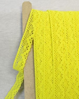Кружево хлопок-90%, п/э-10%, 30 мм, цв.ярко-желтый