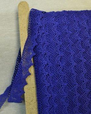 Кружево хлопок-90%, п/э-10%, 32 мм, цв.синий