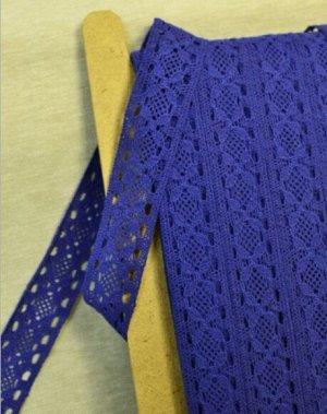 Кружево хлопок-90%, п/э-10%, 35мм, цв.синий