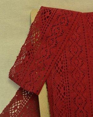 Кружево хлопок-90%, п/э-10%, 100мм, цв.красно-бордовый