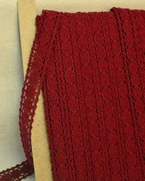 Кружево хлопок-90%, п/э-10%, 28мм, цв.бордовый