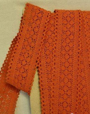 Кружево хлопок-90%, п/э-10%, 60мм, цв.оранжево-кирпичный