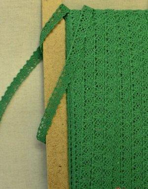 Кружево хлопок-90%, п/э-10%, 12мм, цв. зеленый