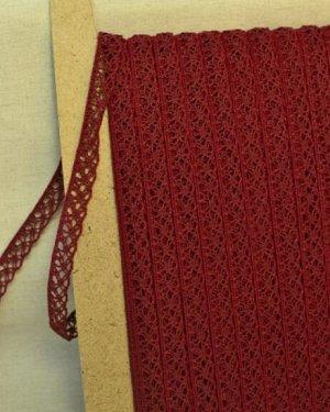 Кружево хлопок-90%, п/э-10%, 13мм, цв.винтажно-бордовый