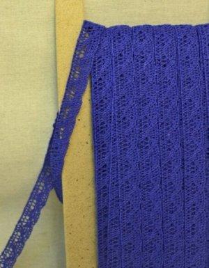 Кружево хлопок-90%, п/э-10%, 13мм, цв.синий