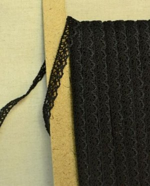 Кружево хлопок-90%, п/э-10%, 13мм, цв.черный (вид 2)