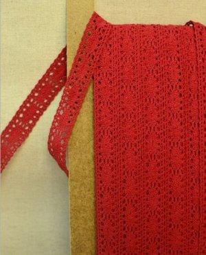 Кружево хлопок-90%, п/э-10%, 20 мм, цв.красный