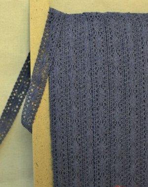 Кружево хлопок-90%, п/э-10%, 20 мм, цв.темный джинс