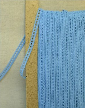 Кружево хлопок-90%, п/э-10%, 8мм, цв.бирюзово-голубой