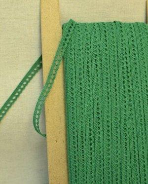 Кружево хлопок-90%, п/э-10%, 8мм, цв.зеленый