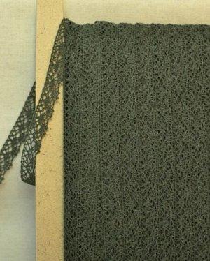 Кружево хлопок-90%, п/э-10%, 20 мм, цв.темно-серый хаки