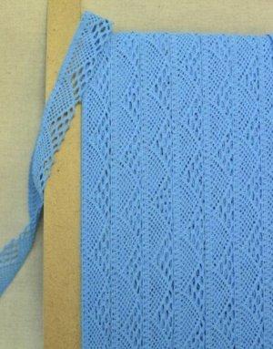 Кружево хлопок-90%, п/э-10%, 25мм, цв.бирюзово-голубой