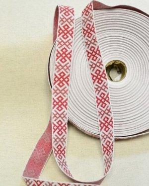 Жак. лент. 23 мм (красно-бордовая вышивка)