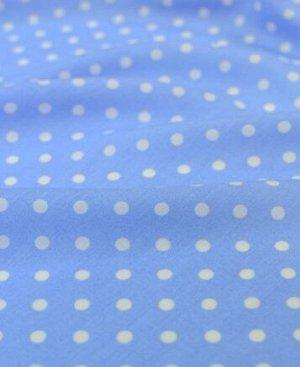 Штапель Горох на голубом (сорт2), 1.42 м, вискоза-100%, пл.100 гр/м.кв.