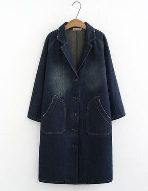Джинсовое пальто, цвет: тёмно синий