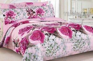 Постельное белье из розового поплина с бутонами роз и белыми цветочками