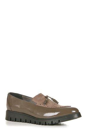 Лоферы кожаные серо-коричневые, размер 40 41