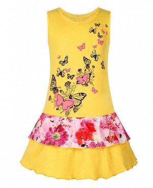 Жёлтый сарафан для девочки Цвет: жёлтый+розовый