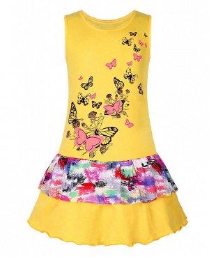Жёлтый сарафан для девочки Цвет: желтый+микс