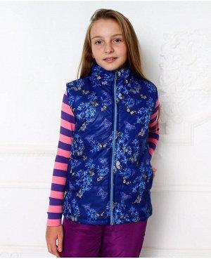Синий жилет для девочки на осень-весну Цвет: синий