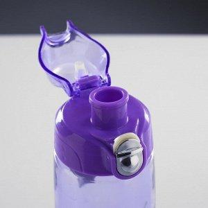 Бутылка для воды 800 мл, прозрачная, крышка пластиковая с соской, на браслете, микс, 7х22 см