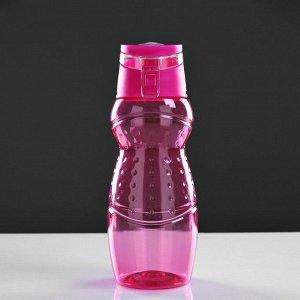 Бутылка для воды спортивная фигурная с поильником и откидной крышкой, 700 мл, микс