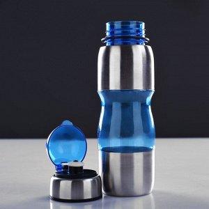 Бутылка для воды 650 мл, велосипедная, с поильником, микс, 8х24.5 см