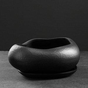 """Фигурное кашпо """"Бонсай"""" большой 24х28см . черный с серебром"""