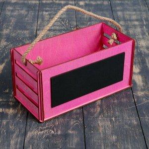 """Кашпо деревянное 25.5?12?12.4 см уникальное """"Баллада"""", с грифельной доской, ручка, розовый"""