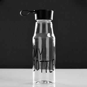 Бутылка для воды 450 мл, прозрачная, микс цветов и надписей, 6.5х21 см