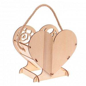 """Кашпо деревянное 17.7?10.5?15 см уникальное """"Сердце на двоих"""", с декором, ручка, натуральный"""
