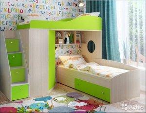 """Кровать чердак """"Кадет2"""" с универсальной лестницей"""