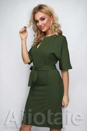Темно-зеленое платье миди с рукавами летучая-мышь
