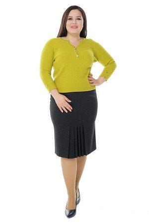 Юбка-9828 Длина платья: Французская длина; Фасон: Юбка Юбка карандаш со встречными складками по центру серая Длина изделия 50 размера по спинке - 64 см. В каждом следующем размере длина увеличивается.
