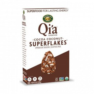 Хлопья органические кукурузные с какао и кокосом, чиа суперфуд, qi'a superfood. cocoa coconut superflakes, 284г