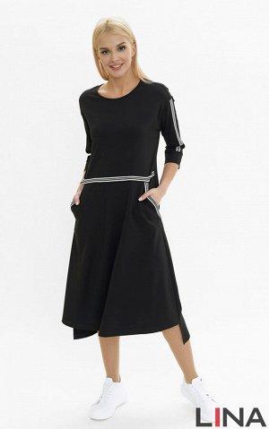 Платье Легкое черное платье для повседневного гардероба станет украшением для любой девушки. На модели есть потайные карманы. Рукава, пояс и карманы имеют белую окантовку. Круглый ворот, длина рукава