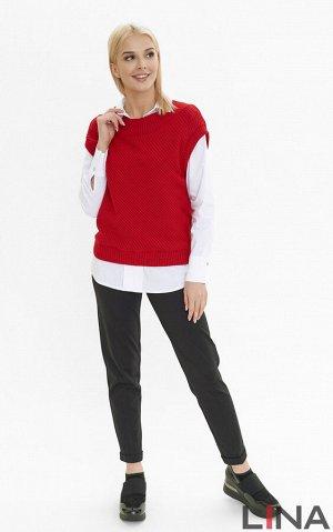 Жилет Жилет из вязаной трикотажной ткани-лапша без рукавов станет украшением любого женского образа. Выполнен в нескольких цветах: черный, красный и синий. Модный жилет можно носить поверх рубашек. По