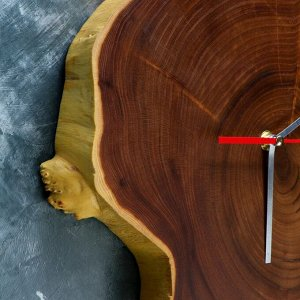 "Часы настенные ""Спил оливы"". 35 х 30 см. микс"