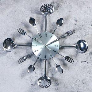"""Часы настенные. серия: Кухня. """"Вилки. ложки. поварешки"""". хром. d=42 см"""