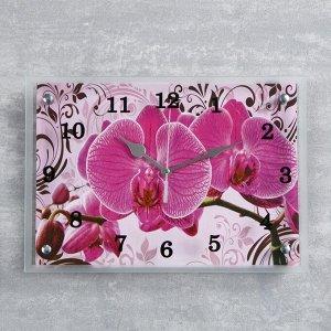 """Часы-картина настенные, серия: Цветы, """"Розовые орхидеи с узором"""", 25х35  см, микс"""