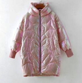 Перламутровый демисезонный пуховик розовый
