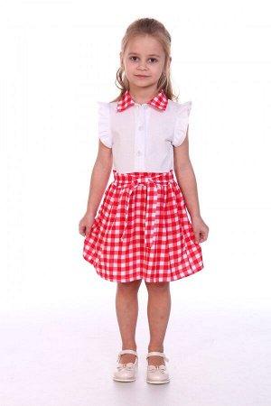 Платье Ткань: Кулирка Состав: Хлопок 100%.  Платье для девочки, комбинация белого верха с оборочками по пройме и пышной юбочкой в клетку с завязывающимся поясом. Воротничок из ткани в клетку объединяе